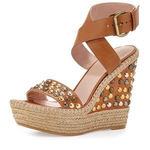 Stuart Weitzman Studded Wedge Sandals